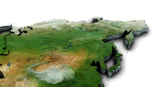 3d World map zoom to Northern Asia video