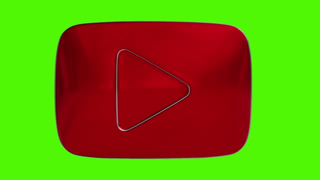 3d youtube button on a green background video