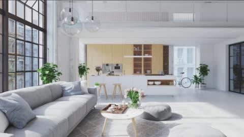 stockvideo's en b-roll-footage met 3d-illustratie van een nieuw modern city loft appartement. - modern