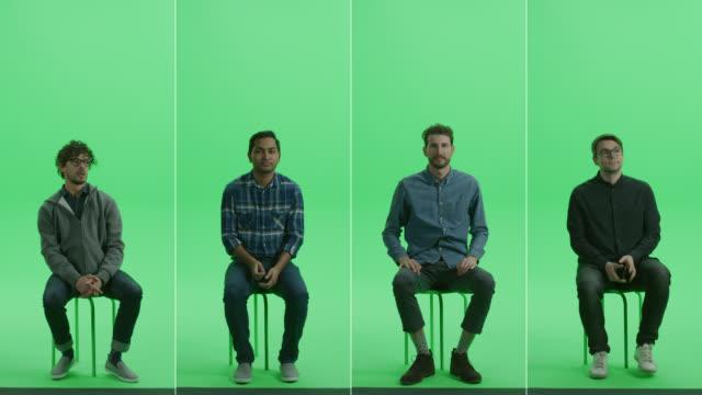 vidéos et rushes de 4-en-1 green screen collage: four portraits of handsome men of diverse background, ethnicity, different age sitting on the chroma key chair. écran partagé frontale. multiple clips best value pack - assis