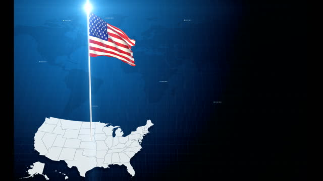4k 3d flag with map + green screen background - usa map stock videos and b-roll footage