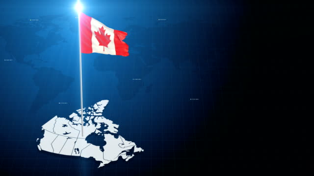 4k 3d flag with map + green screen background - canada video stock e b–roll
