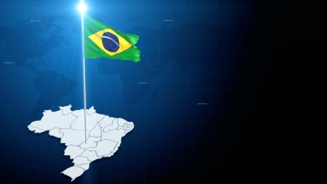 4K 3D bandeira com mapa + fundo verde - vídeo
