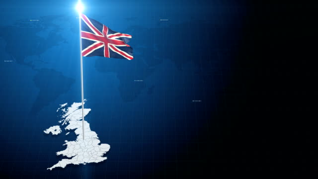 4k 3D Flag with map + green screen background 3d flag waving first 15 sec on the modern background with map , second 15 sec on the green screen background . uk map stock videos & royalty-free footage