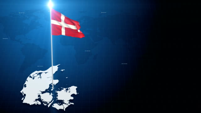 4k 3D Flag with map + green screen background 3d flag waving first 15 sec on the modern background with map , second 15 sec on the green screen background . denmark stock videos & royalty-free footage