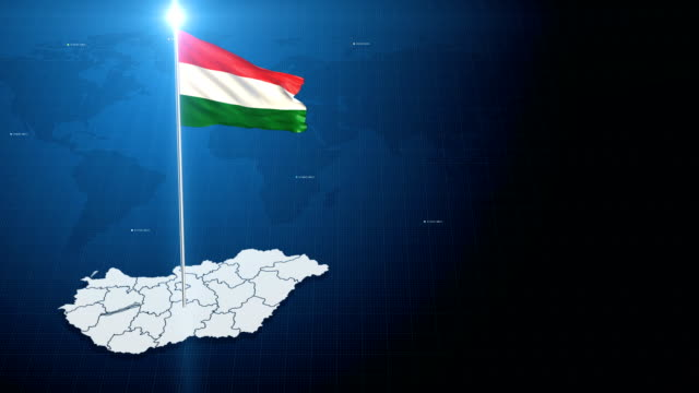4k 3D Flag with map + green screen background 3d flag waving first 15 sec on the modern background with map , second 15 sec on the green screen background . hungary stock videos & royalty-free footage