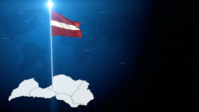 vídeos de stock e filmes b-roll de 4k 3d flag with map + green screen background - letónia
