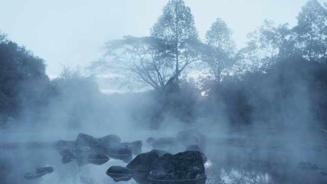 4k ,A pond of boiling Hot spring water video