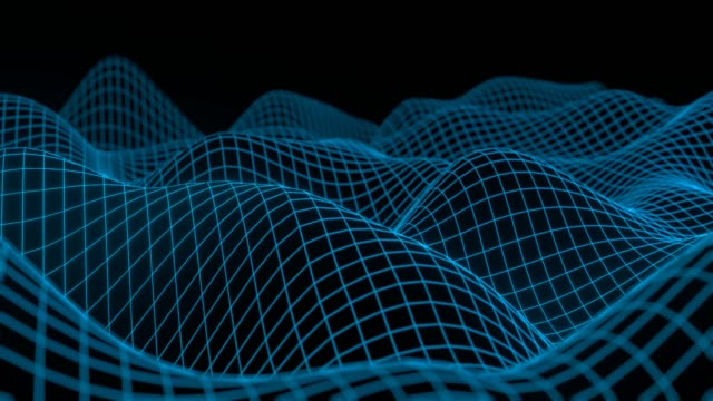 4k abstract background with smooth looped animation of glowing particles, shining bokeh sparkles. Sci-fi blue composition with oscillating luminous particles.
