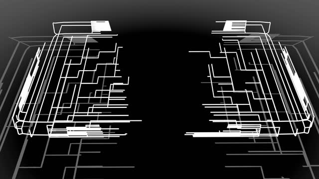 4k abstract black wireframe on white bg. Ai growing geometric pattern of lines form cube, branches of calculations, nodes and intersections. Building solution by ai or neural network. video