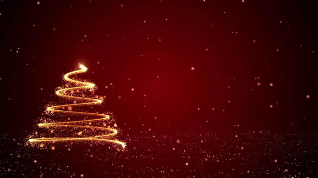 4k abstract christmas tree in red background - cena di natale video stock e b–roll