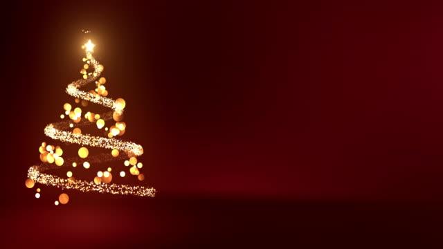 vídeos de stock e filmes b-roll de 4k abstract christmas tree with copy space (red) - loop - christmas card