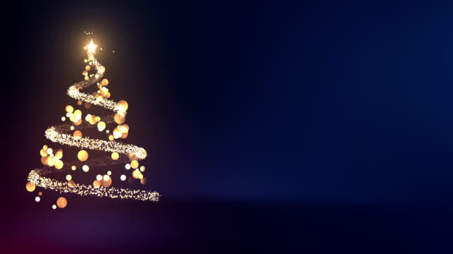 4k abstract christmas tree with copy space (blue) - loop - cena di natale video stock e b–roll