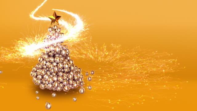 stockvideo's en b-roll-footage met 4 k abstracte kerstboom met kopie ruimte - christmas tree