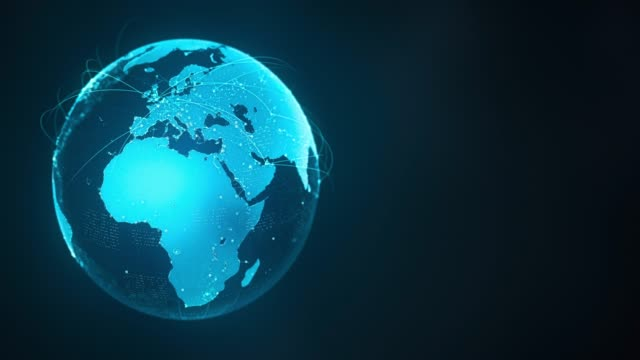 4k abstract globe med anslutnings linjer (med kopierings utrymme)-loopable efter sex sekunder - jorden nyheter bildbanksvideor och videomaterial från bakom kulisserna