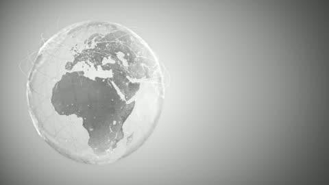4k Abstract Globe With Connection Lines (With Copy Space, Silver Colored) - Loopable After Six Seconds Highly detailed animation, perfectly usable for all kinds of topics related to international business, global networks or commercial flight routes. global communications stock videos & royalty-free footage