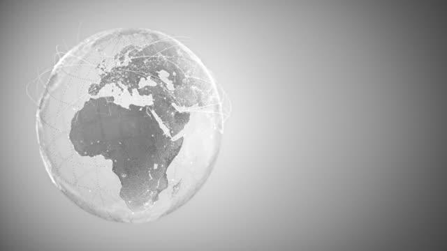 4k abstract globe med anslutnings linjer (med kopierings utrymme, silverfärgad)-loopable efter sex sekunder - global bildbanksvideor och videomaterial från bakom kulisserna