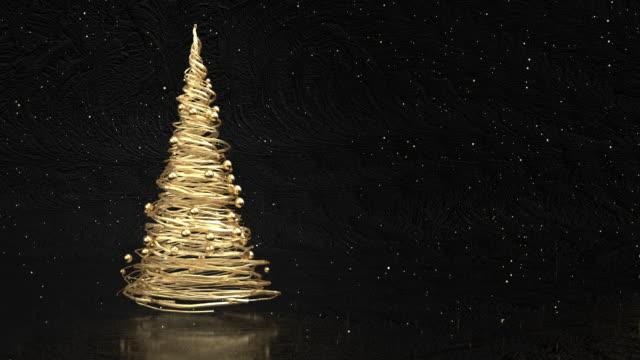 vídeos de stock e filmes b-roll de 4k abstract gold christmas tree - christmas card