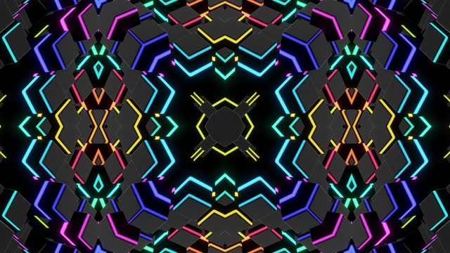4k abstract looped background with symmetrical square structures of many elements, lighting bulbs, multicolor neon lights. Vj loop for music, festive show or holiday events, festivals or concerts. video