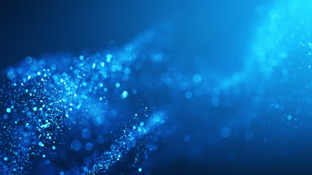 4k Abstract Particle Wave Bokeh Background - Blue, Water, Snow - Beautiful Glitter Loop