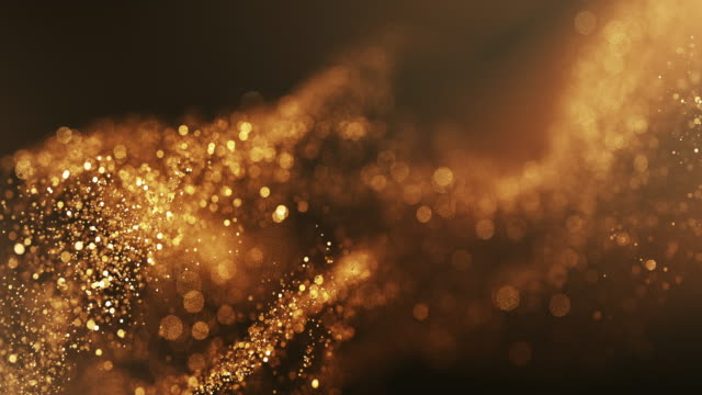 vidéos et rushes de 4k abstract particle wave bokeh background - gold, award, luxury, christmas - beautiful glitter loop - gold