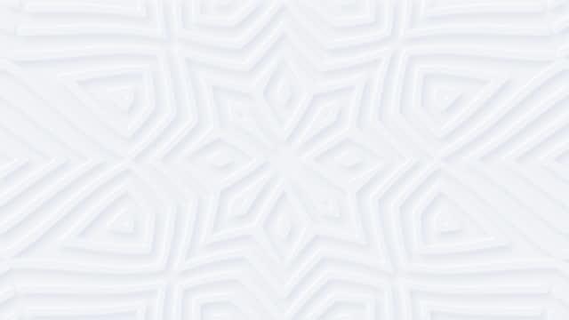 vídeos de stock, filmes e b-roll de 4k fundo geométrico branco abstrato. clara floral em branco sem costura looped bg. - mandala