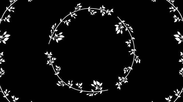 vídeos de stock, filmes e b-roll de 4k abstração de redemoinhos. quadro floral animado com canal alfa - estampa floral