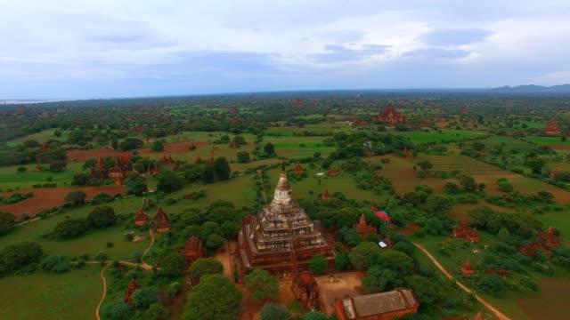 4k aerial - backwards flight Shwe San Daw Pagoda video