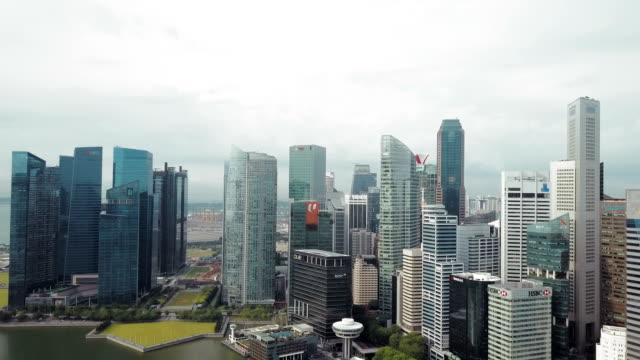 4k Aerial financial district buildings marina bay, singapore video