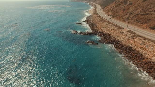 4k aerial footage of a beach in Malibu, California video