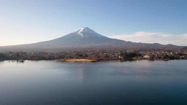 4k Aerial Footage of fuji mountain at Kawaguchiko Lake,Japan video