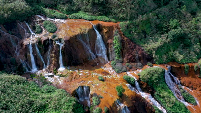 4k Aerial Footage of Golden Waterfall in New Taipei City, Taiwan video