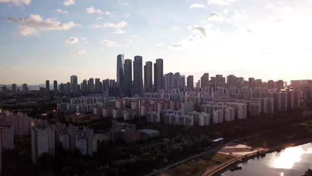 4k Aerial Footage Sunset of incheon central park,Seoul South Korea video