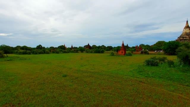4k aerial ground aerial towards Shwe San Daw Pagoda video