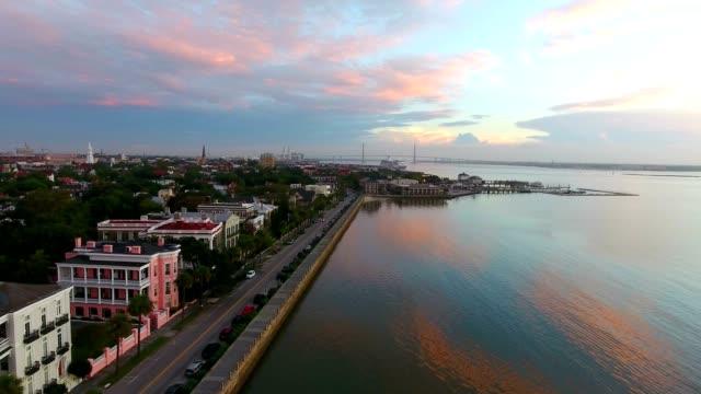 4k Aerial of Charleston South Carolina at Sunrise