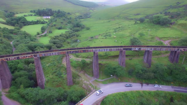 4k Aerial Shot of an Old Bridge in Ireland video