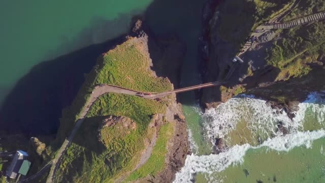 4k Aerial Shot of Carrick-a-Rede rope bridge in Northern Ireland