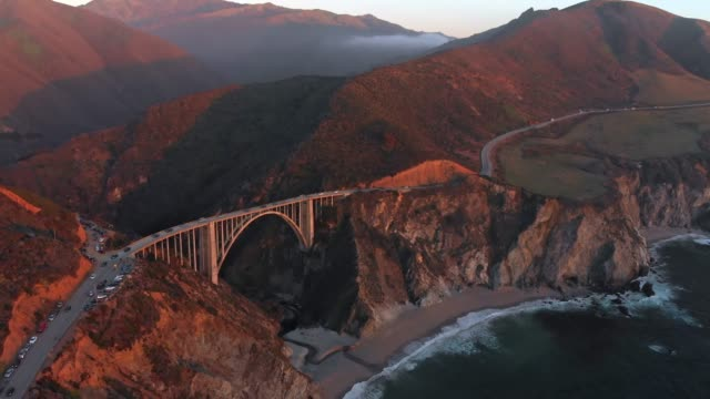 4k Aerial Video - Bixby Creek Bridge at Big Sur Coastline, California, USA video