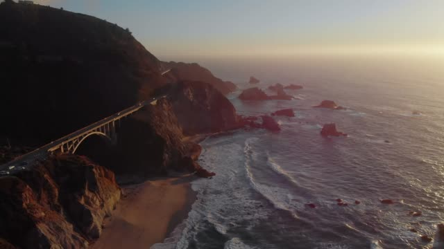 4k Aerial Video - Bixby Creek Bridge at Big Sur Coastline, California, USA