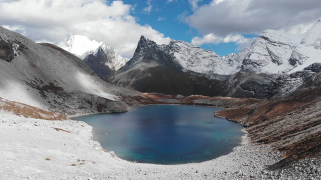 4k Aerial view and dolly shot of The Five color Lake in Yading Nature Reserve, China.