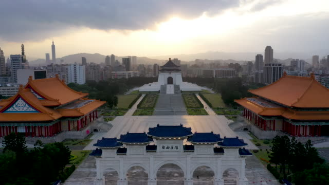 4k Aerial View by Drone Sunrise at Front gate of Chiang Kai Shek Memorial hall in Taipei City, Taiwan video