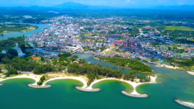 4k Aerial view of a beautiful beach in Narathiwat province, Thailand 4k Aerial view of a beautiful beach in Narathiwat province, Thailand southeast stock videos & royalty-free footage