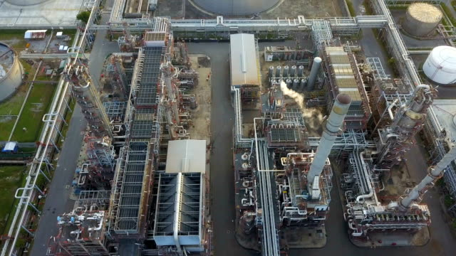 4k Aerial view of large oil refinery facilities at morning in Asia video