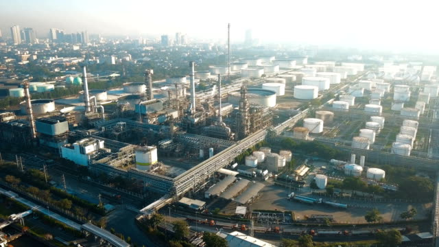 4k Aerial view of large oil refinery facilities in Asia video