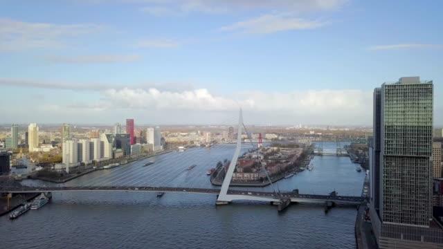 4k aerial view of rotterdam bridge erasmusbrug during a sunny day - rotterdam video stock e b–roll