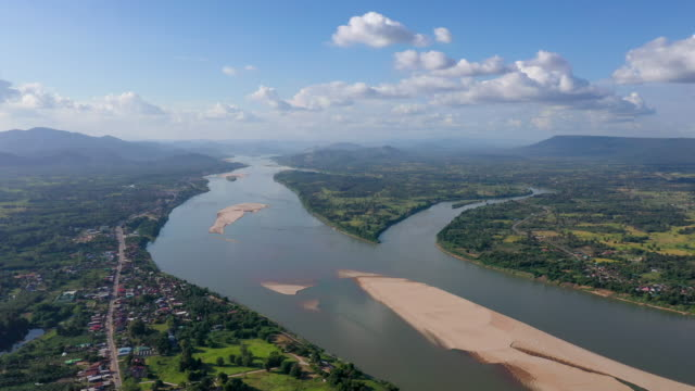 4k Aerial view of the Mekong River separating Thailand and Laos video
