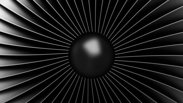 vidéos et rushes de animation 4k de boucle transparente. lames noires de moteur à réaction en acier inoxydable. vue rapprochée de la turbine de rotation du moteur d'avion de turboréacteur. - lame