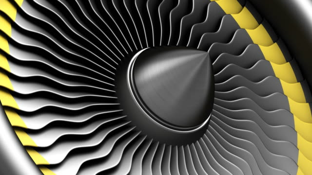 4k animation of seamless loop. Black stainless steel jet engine blades. Close-up view of rotation turbine from turbojet airplane engine.