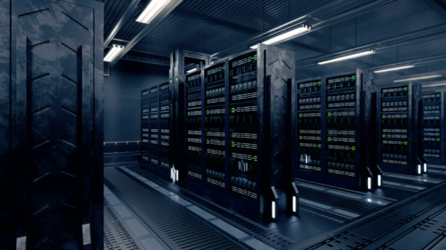 4k Animation presenting data center while working. Perfect technology or digital security background. Loopable 3d rendering. supercomputer stock videos & royalty-free footage