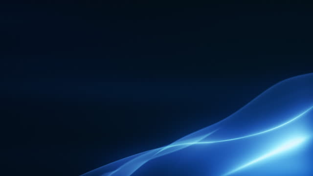 Video 4k Beautiful Abstract Wave Background With Copy Space -Blue, Dark, Corner- Loopable